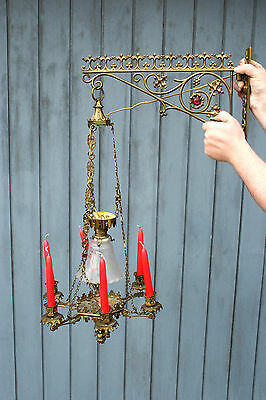 Antique Neo-Gothic Church Religious bronze French chandelier candleholder 1920