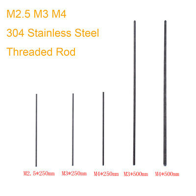 Threaded Rod 304 Stainless Steel Screw M2.5 M3 M4 250mm  500mm 1pc