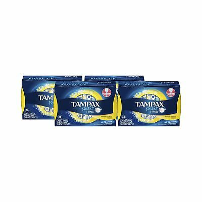 Tampax Pocket Pearl Plastic Tampons, Regular Absorbency, Unscented, 36 Count,...