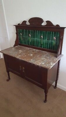 Victorian antique sturdy washstand cupboard console, marble top
