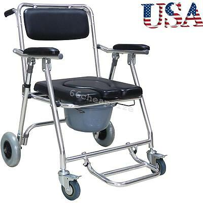 New Shower Commode Wheelchair Toilet Chair Removable Aluminum Rolling 4 Brakes