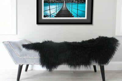 Black Real Mongolian Fur Throw Tibetan Lambskin Rug Hide Pelt Curl Hair Carpet