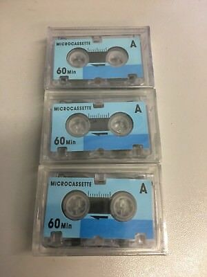 3x 60 Minute Microcassette Micro Cassette Tapes - New & Sealed