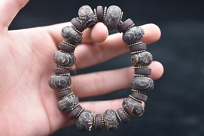 tibetan prayer worry dzi bead old agate 3 Eye gzi antique tibet Bracelets 359