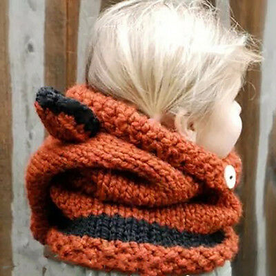 Lc_ Fox Ears Pattern Knitted Warm Hat Fashion Baby Infant Kids Hooded Shawl Ca