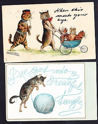 OLD POSTCARDS Louis Wain CATS etc x 6 VINTAGE HUMOR - sadly stamps removed