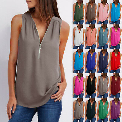 Womens Zipper Sleeveless Casual Vest Blouse Top Ladies T Shirts Tops plus size