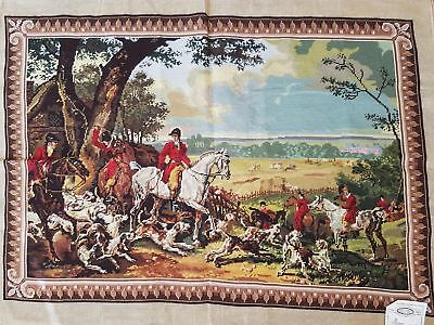 """The Big Hunt / Completed Wool Tapestry (40"""" x 28"""") / Cross Stitch"""