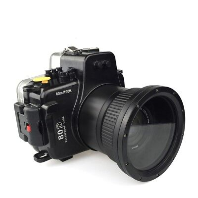 Meikon 40m/130ft Waterproof Underwater Camera Housing Case for Canon EOS 80D