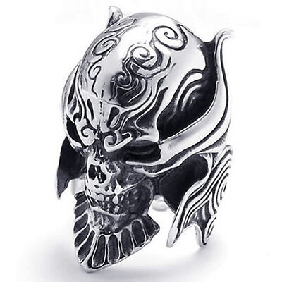 LC_ Men Punk Gothic Jewelry Skull Warrior Helmet Stainless Steel Band Ring Exq