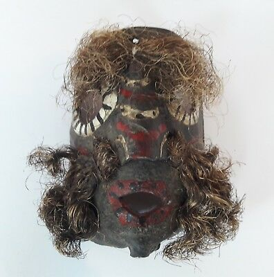 Mid 20th Century Leather Tribal Carnival Mask - Central America - Antique