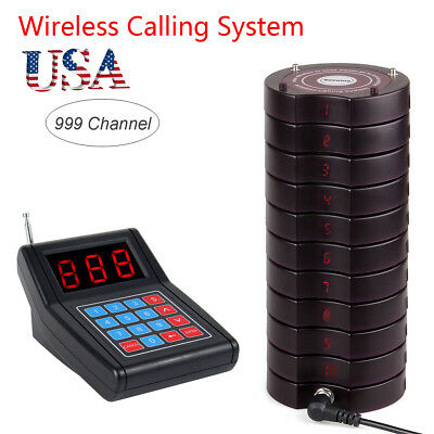 Restaurant Wireless call Paging Queuing System Transmitter+10*Coaster Pager US