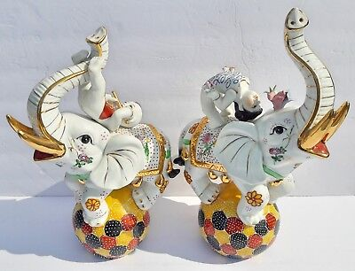 Ceramic Satsuma Circus Elephant Pair - Vintage Antique Japanese Art Sculptures