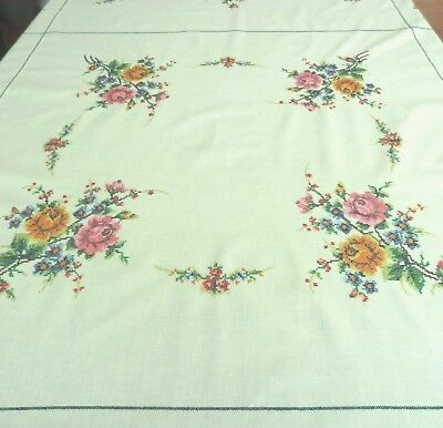 "Round hand embroidered tablecloth +8 napkins 1960s UNUSED 66""  cross stitch"