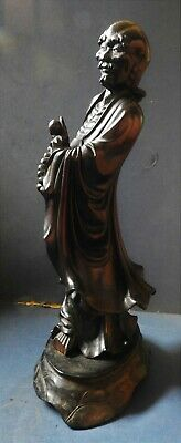 Superb Large Chinese Carved Wooden Figure - 19Th Century