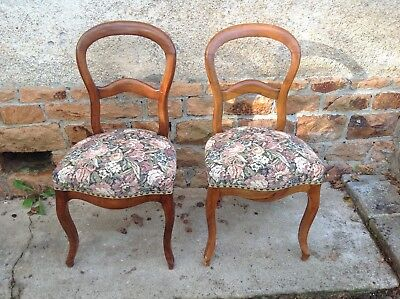 2 French vintage Louis Philippe style bedroom chairs