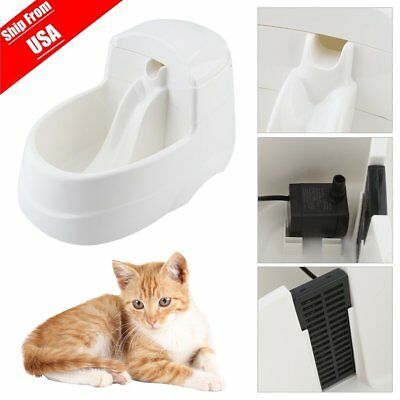Pet Water Fountain Cat Dog Automatic Food Bowl Dish Feeder Dispenser Waterer MX