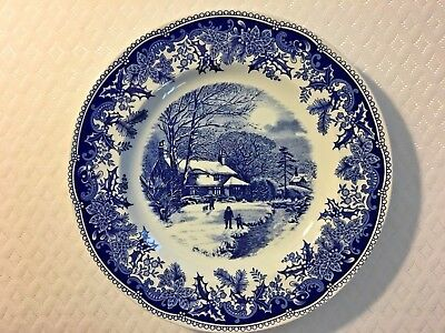 Spode  Winteru0027s Eve 10.5  blue and white dinner plate & SPODE