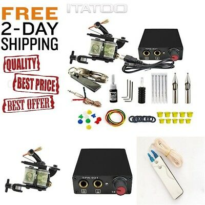 ITATOO Complete Professional Tattoo Kit for Beginners Power Supply Kit 1 Black