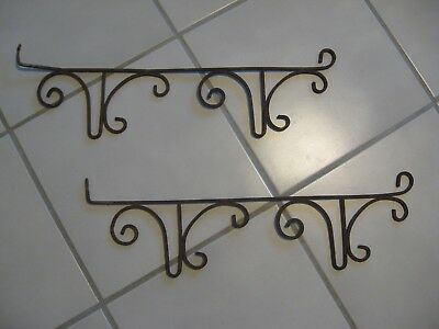 Vintage Sign Bracket Holder Pair Wrought Iron 2 sided Cantilever Wall Scroll