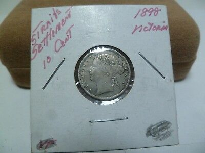 1898 Straights Settlement 10 Cent Silver Coin