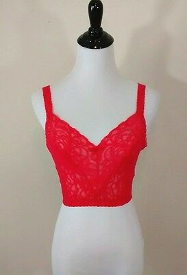 Vintage Maidenform Red Lace Sheer Sleep Bra Lingerie Size 34 Union Made USA