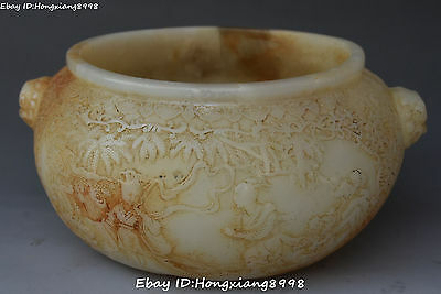 Rare China Ancient Old Jad Carving Belle Girl Beauty Man Tree Crock Pot Jar Jug