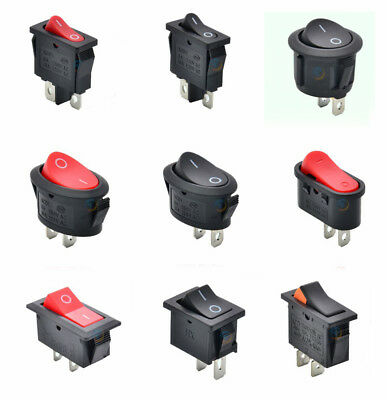 All 2 Pin SPST On/Off Black Red Rocker Switch 3~15A 250V Various shape sizes Pcs