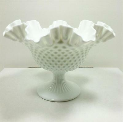 VTG Fenton Art Glass Milk White Hobnail Footed Compote Bowl Ruffled Edge