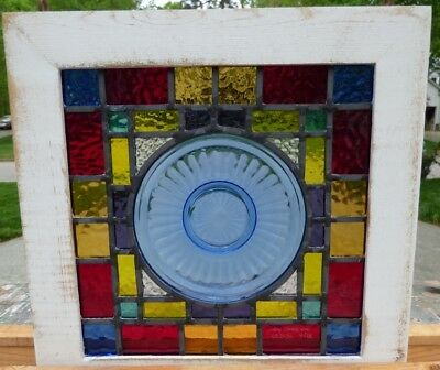 Depression blue plate leaded stained glass window 1