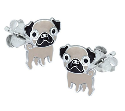 Pug Earrings Sterling Silver Dog Lovers Puppy Paw Frenchie Bulldog UK SELLER