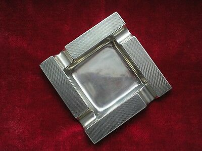 Art Deco Silver Ashtray Engine Turned Hallmarked 1940 Birmingham Hbros