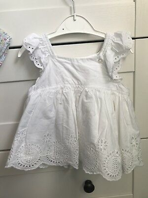 Baby Gap White Ruffle Toddler Top Summer 12-18months T-Shirt strappy