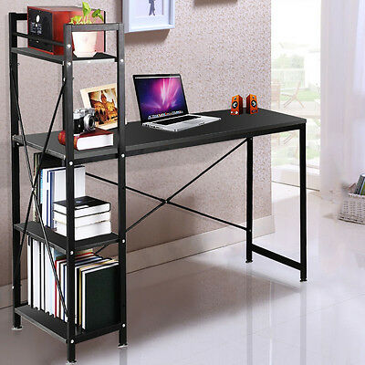 4 Tier Shelving Computer Desk Home Office Student PC Workstation Laptop Table
