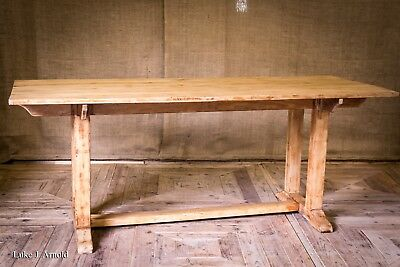 Antique Late 19th Century Arts & Crafts Bleached Oak Refectory / Dining Table