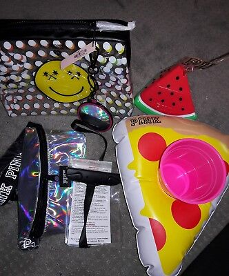 NEW PINK Summer Lot Cup Holographic Hip Pocket Toiletry Bag Mirror Pizza Float