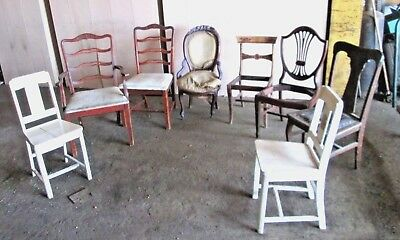 Lot of 8 Antique Wooden Chairs local pick Up Ohio