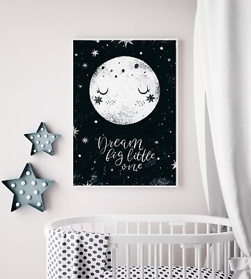 Dream Big Little One Nursery Bedroom Moon Print / Picture / Wall Art / Kids Room