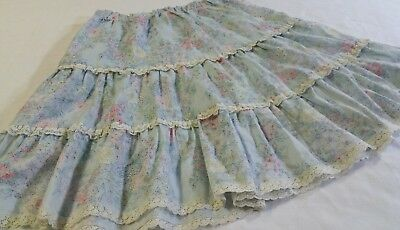 VINTAGE Girl's Size 8 Hippie Prairie Tiered Skirt Floral Lace Trim
