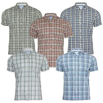 Men's New Short Sleeved Regular Fit Button Down Cotton Check Shirt Tops