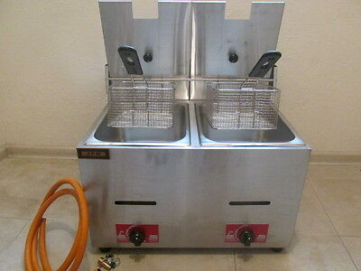 2x5,5L imbiss -GAS-Frittöse Dopel Friteuse-Gasfritteuse Tischfritteuse Fritteuse