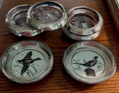 SILVER LOT of  Frank Whiting Sterling Silver Painted PHEASANT & DUCK +5 coasters