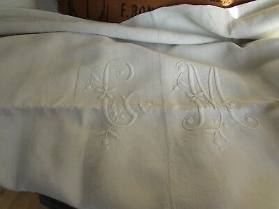 Antique French monogrammed, hand embroidered huge linen sheet. Projects or beds!