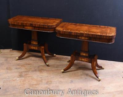 Pair Regency Card Tables Rosewood Brass Inlay Games Table