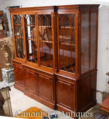 Large Victorian Breakfront Bookcase in Mahogany Cabinet