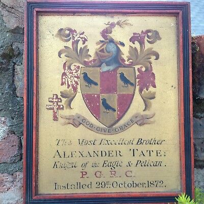 Antique masonic plaque, ALEXANDER TATE, dated 1872.