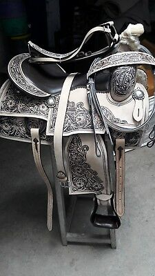 """16""""western pleasure cowboy rodeo horse leather all purpose saddle headstall"""