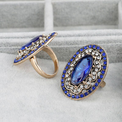 2017 New Charm Blue Big Ring Color Ancient Gold Vintage Wedding Rings For Women