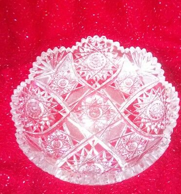 "RARE American Brilliant Period CUT GLASS CRYSTAL DISH 8"" WIDE ANTIQUE 1905"