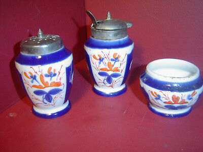 Antique Asian Style Hand Painted Pepper Shaker & Salt Cellar with Condiment Bowl